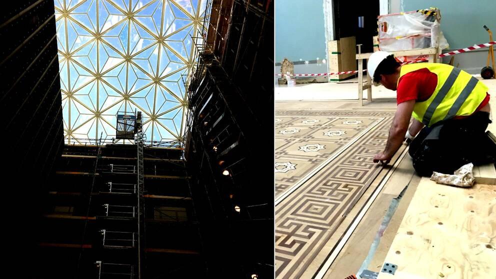Bild på det 25 ton tunga glastaket. Till vänster jobbar en man med att lägga ett mosaikgolv.