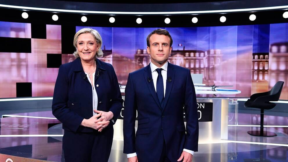 Marine Le Pen och Emmanuel Macron