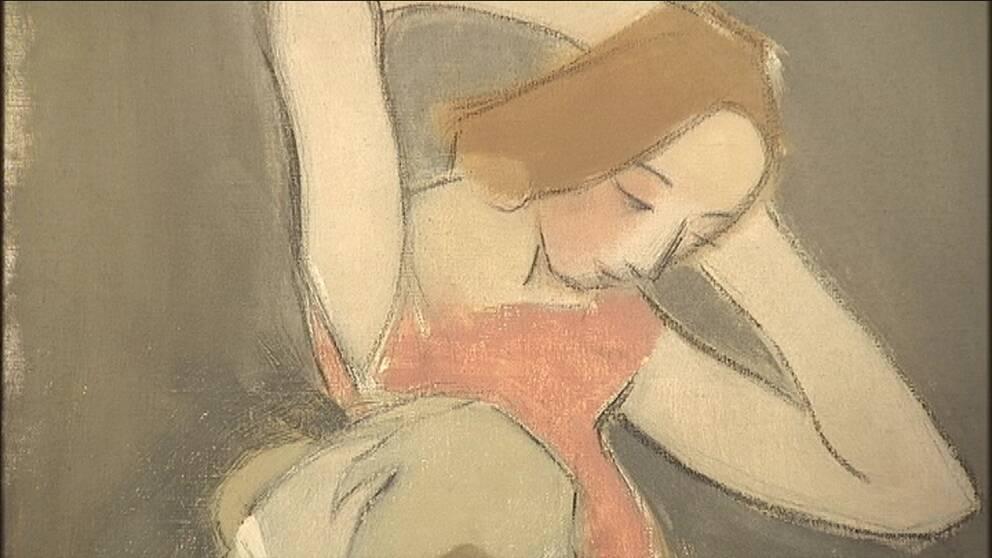 """Yksityiskohta Helene Schjerfbeckin taulusta """"Framför spegeln""""."""