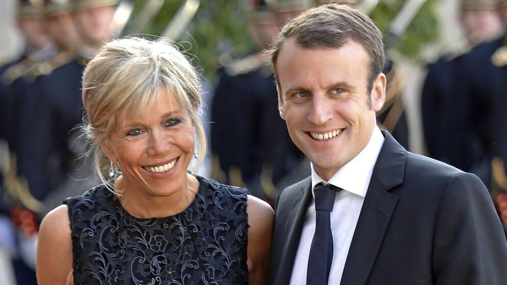 Brigitte Macron och Emmanuel Macron (Arkivfoto juni 2015)