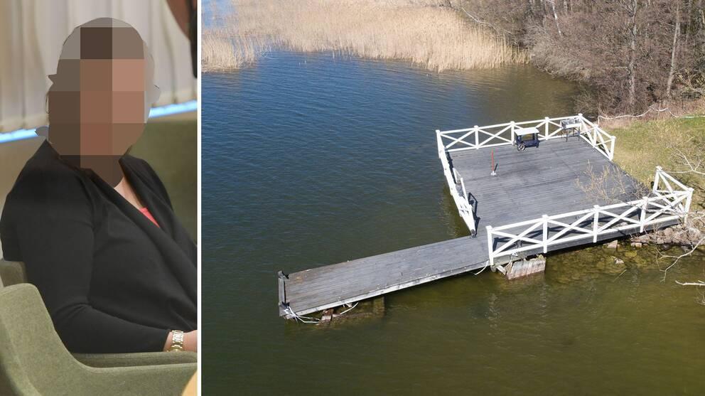 Pixlad kvinna och brygga där mannen hittades drunknad