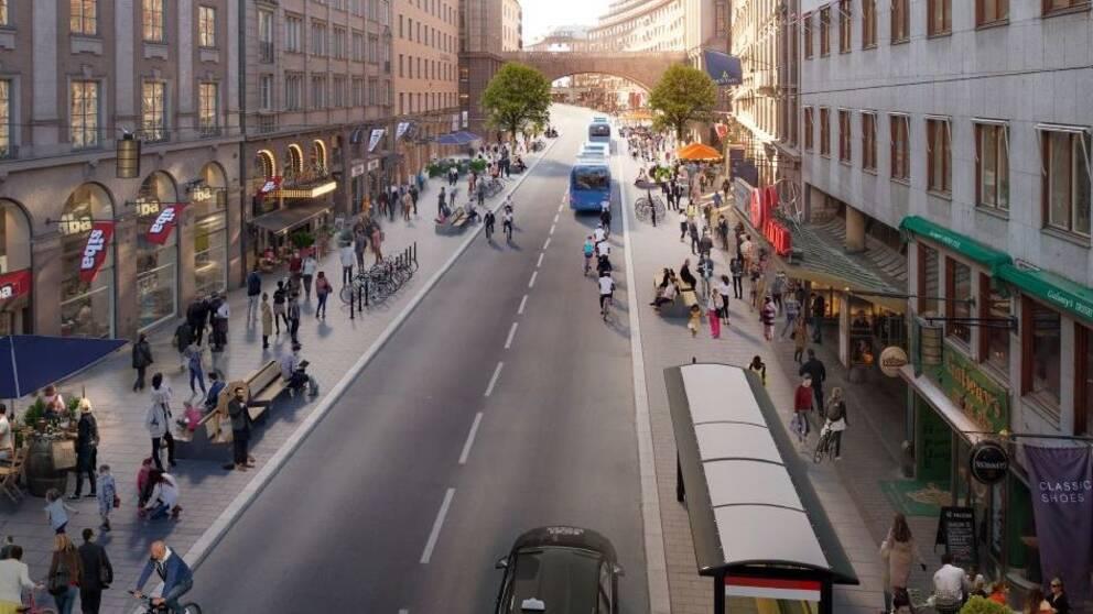 Illustration över Kungsgatan med gångväg, cykelväg och enbart kollektivtrafik