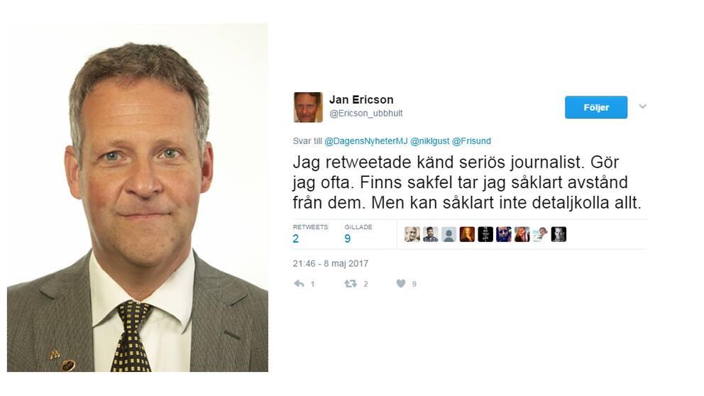 Moderate riksdagsledamoten Jan Ericson (M), till höger skärmdump från Twitter.