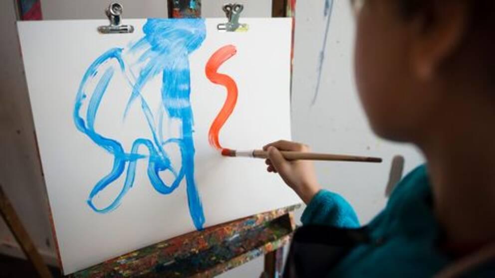 barn, kultur, måla, staffli, pensel, målarfärg