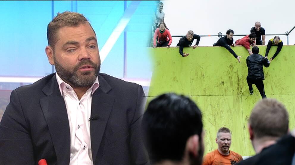 Patrik Olsson och väggen i Tough Viking