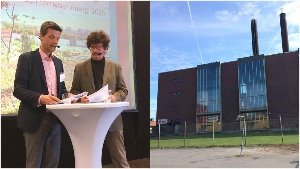 Stefan Håkansson, vd Eon Värme och Lars Stjernkvist (S), kommunstyrelsens ordförande i Norrköping.