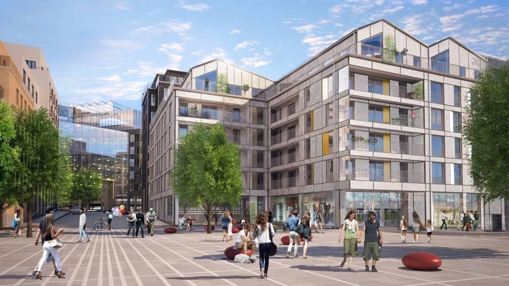 Förslag på nytt bostadshus (kvarter 2), vy från Kvarterstorget