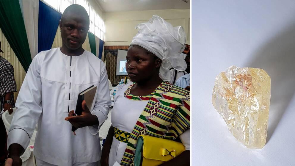 Pastor Emmanuel Momoh har hittat Sierra Leones näst största diamant hittills.