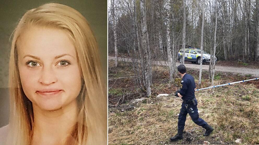 Tova och polis vid platsen där hon sågs senast.