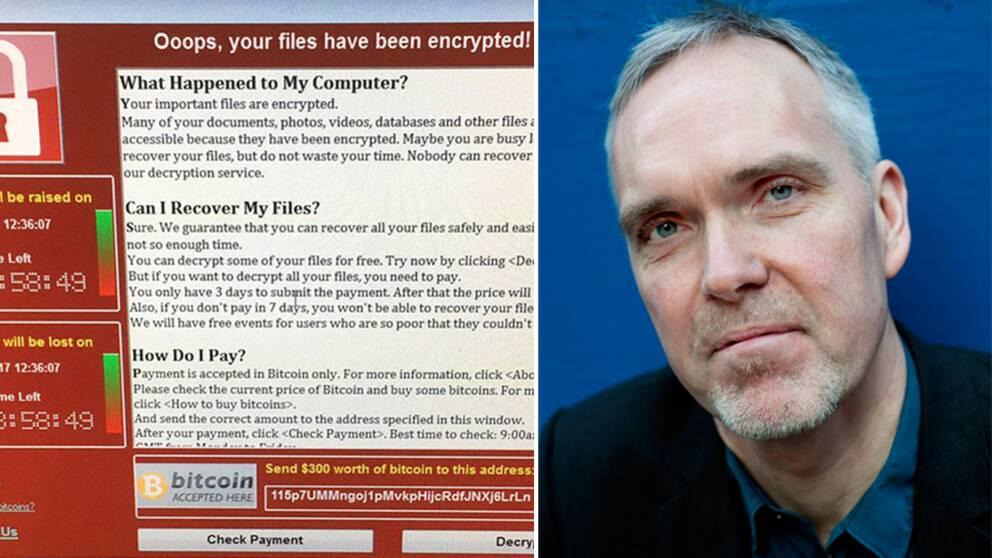 Dator infekterad med virus. Viruset har krypterat filerna och en lösensumma krävs för att filerna ska återställas.