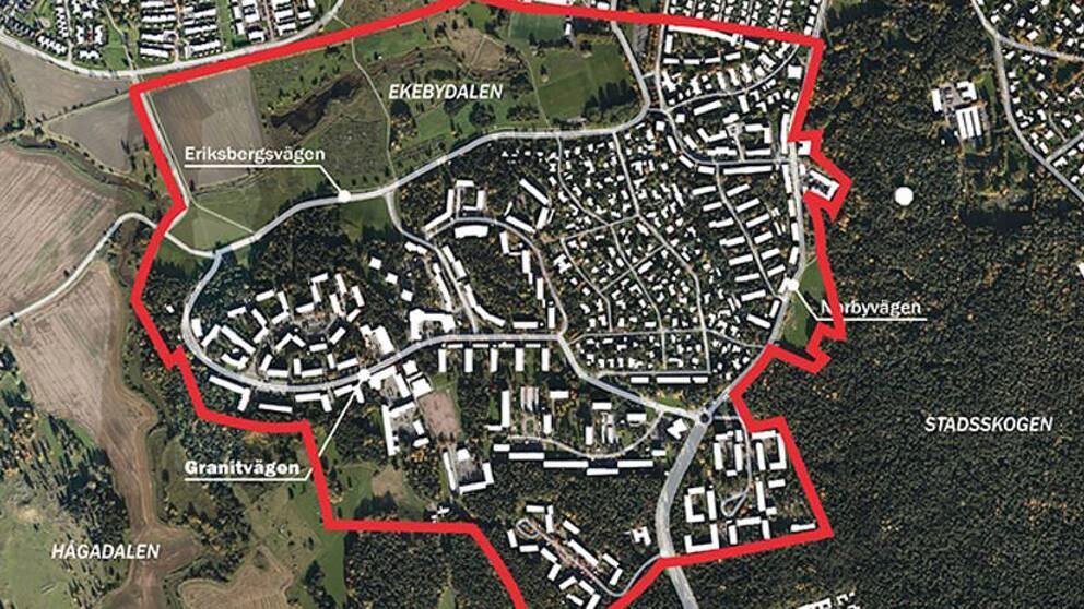 Den röda linjen i bilden visar området som kommer att tas upp i planprogrammet för Eriksberg och Ekebydalen.