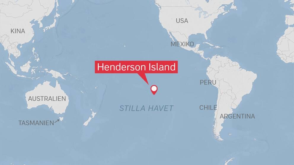 Korallatollen Henderson Island ligger i Stilla havet och tillhör ögruppen Pitcairn.