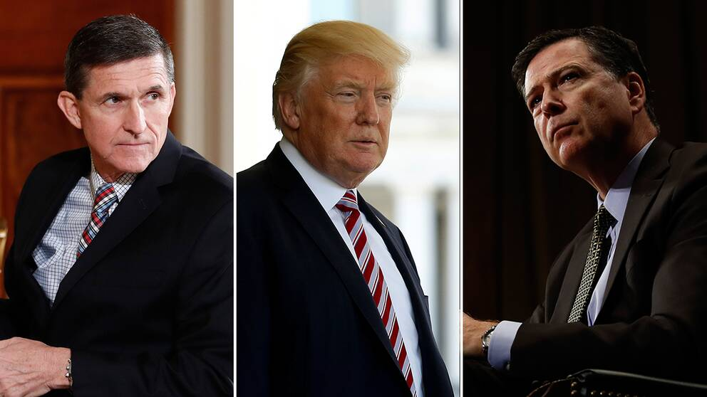 Michael Flynn, Donald Trump och James Comey.
