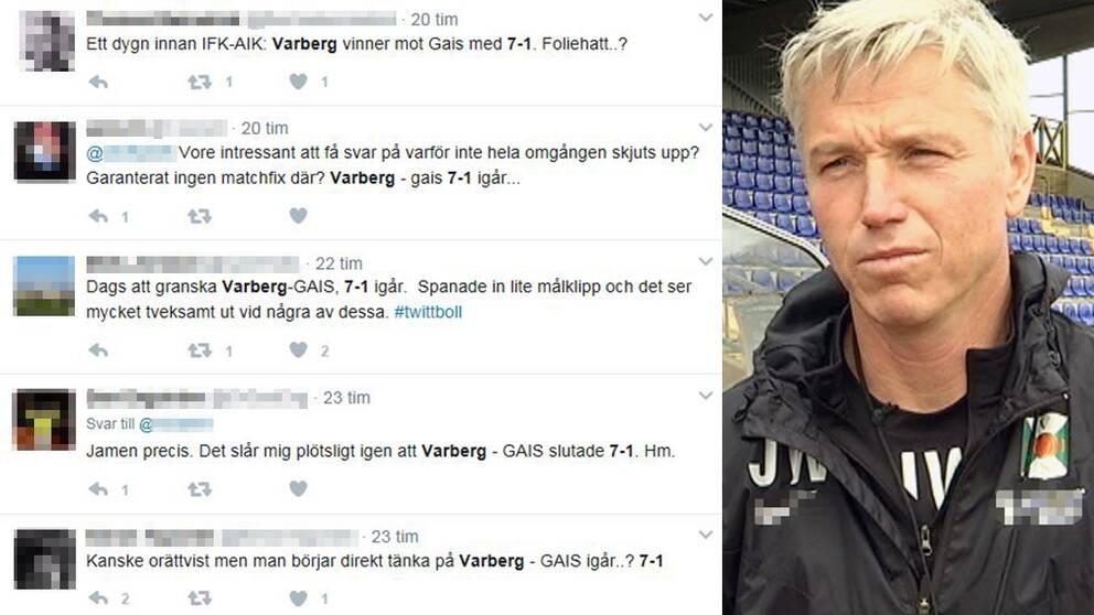 skärmdump från kommentarer på twitter där Varbergs storseger mot Gais misstänks för matchfix och Jörgen Wålemark