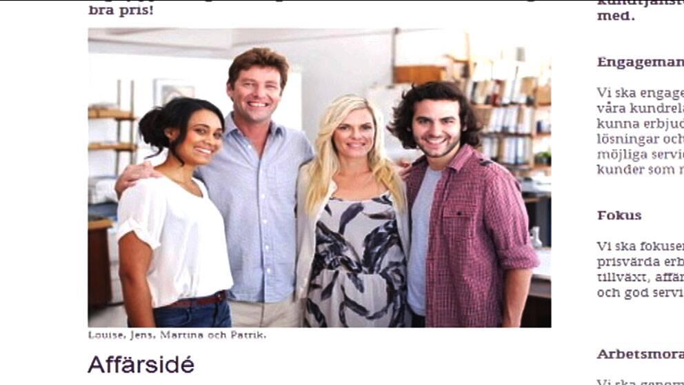 """På teleoperatören Tele15:s hemsida skyltar man med medarbetarna Louise, Jens, Martina och Patrik. Problemet är bara att personerna inte finns. """"Bilden skall tolkas symboliskt"""" enligt Tele15."""