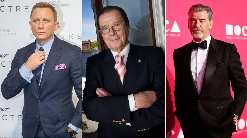 Daniel Craig, Roger Moore och Pierce Brosnan.