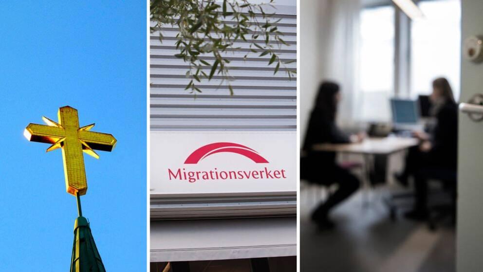 Tredelad bild med ett kors, skylt på Migrationsverket, anonym bild på två personer som sitter på ett kontor