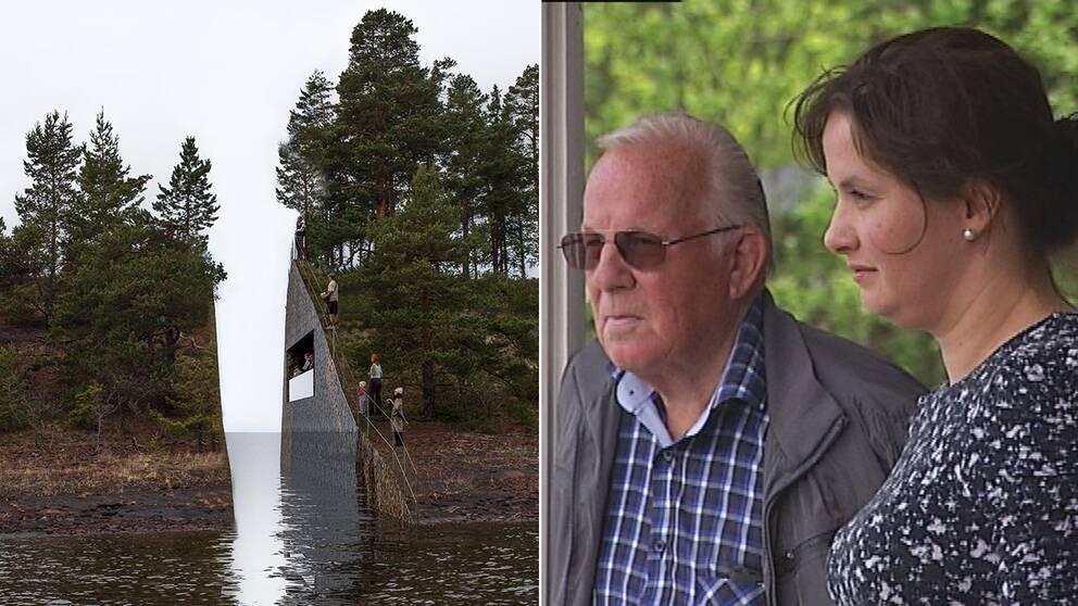 Grannarna Terje Lien och Maria Holtane-Berge var först på plats och räddade ungdomarna ur vattnet och tog hand om de svårt sårade. Nu kämpar de mot minnesmärket som de menar blir en alltför svår påminnelse om det de försöker att lägga bakom sig.