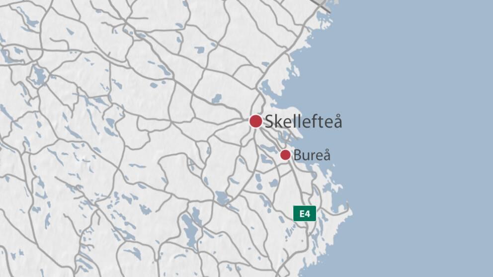 Karta som visar Bureå utanför Skellefteå