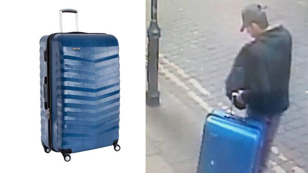 Polisen i Manchester har gått ut med övervakningsbilder som fångat Salman Abedi med en blå resväska bara timmar innan dådet.