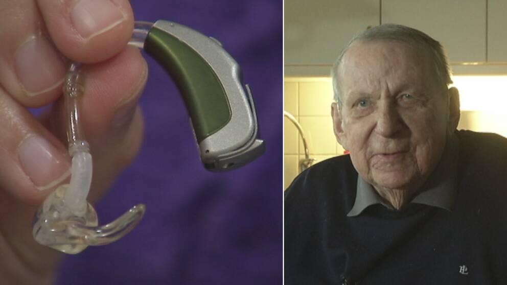 Närbild på hörselapparat till vänster. Lennart Assarsson, patient, till höger. Bilden är ett montage.