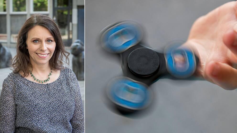 """Psykologen Jenny Klefbom syns tillsammans med en snurrande leksak, en """"fidget spinner""""."""