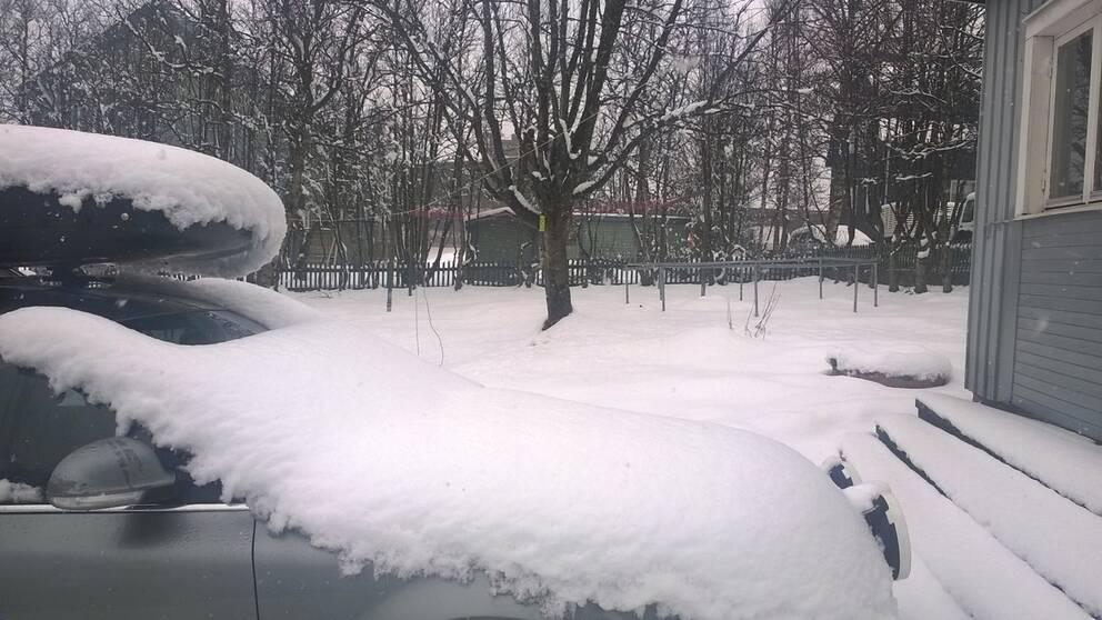Bakslag gav snötäcke i Kiruna i Lappland den 28 maj.
