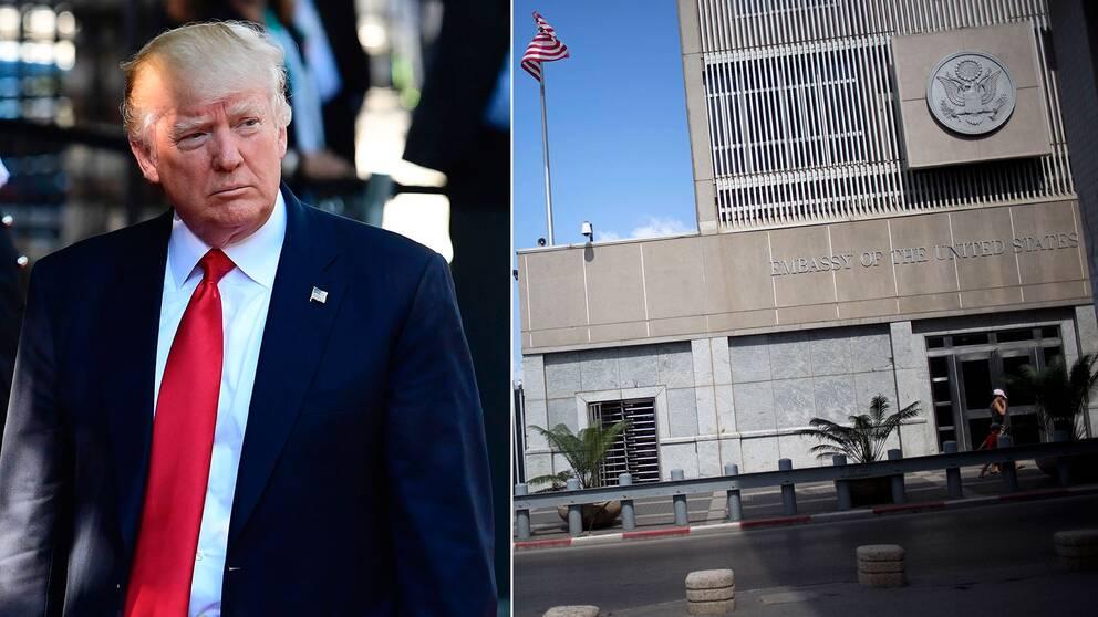 Donald Trump flyttar inte ambassaden till Jerusalem än.