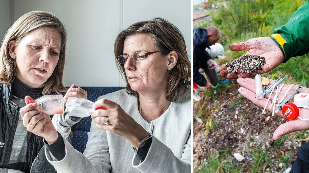 Miljöminister Karolina Skog (MP) och klimatminister Isabella Lövin (MP) tittar på behållare med mikroplaster.