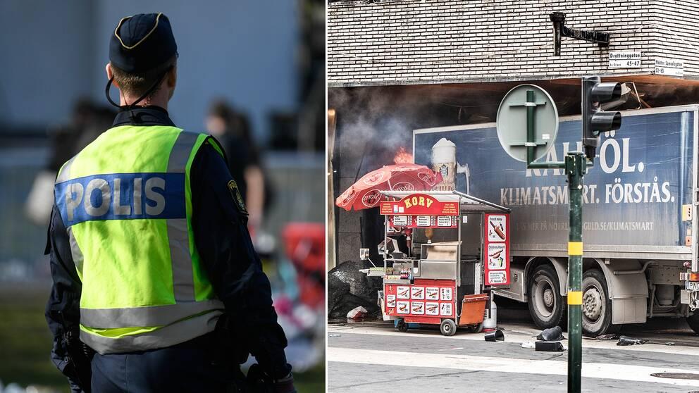 Polisen går ut med fem råd till allmänheten i händelse av ett terrordåd. Här en bild från attacken på Drottninggatan i Stockholm i våras.