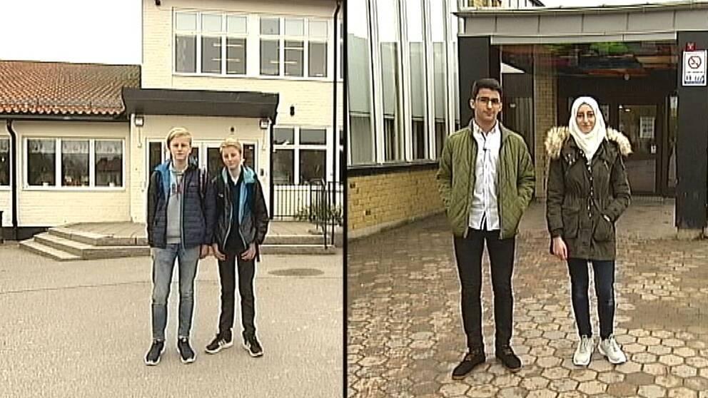 Emil och Albin från Ljungsbroskolan och Amenah och Alamin från Skäggetorpsskolan.