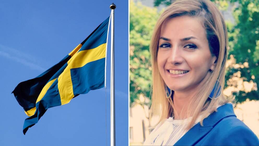 En svensk flagga syns tillsammans med Talayeh Shabanifard.