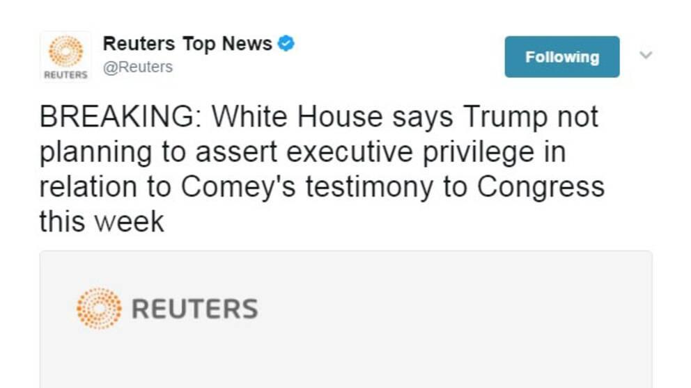 Tweet från Reuters.