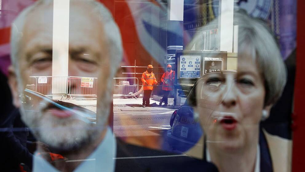 Jeremy Corbyn och Theresa May.