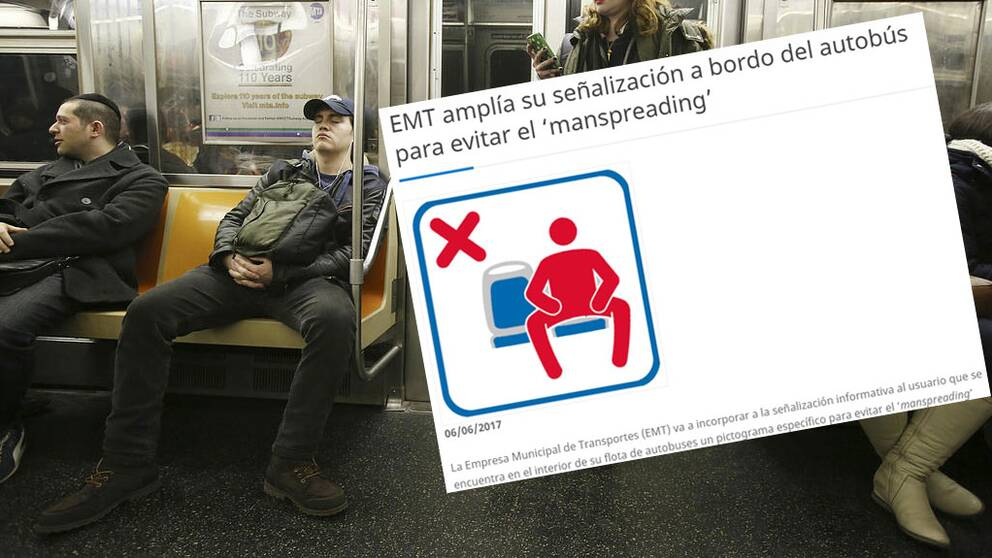 Man som sitter med benen brett isär och en förbudskylt som förmedlar att det inte är tillåtet att sitta på det viset.