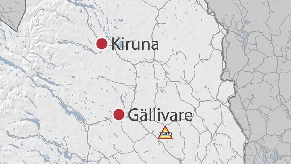 En karta över norra Norrbotten där man ser Kiruna och Gällivare.