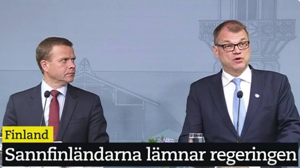 Juha Sipilä håller presskonferens efter att ha haft krismöte med den finska regeringen om Sannfinländarnas nytilltredde partiledare.