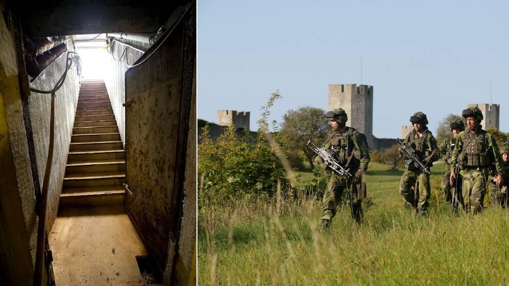 skyddsrum och soldater