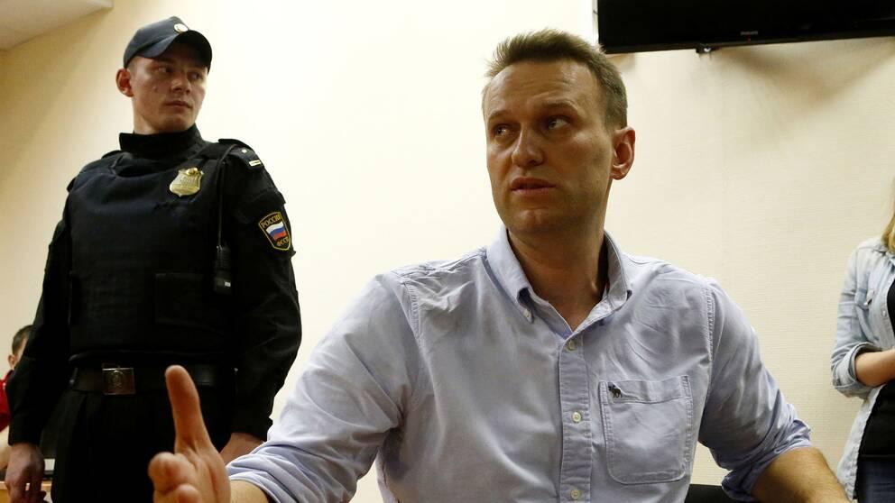 Alexej Navalnyj under rättegången den 12 juni.