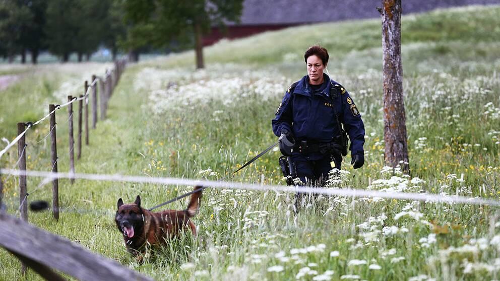 Polis med hund går i inhägnad hage,