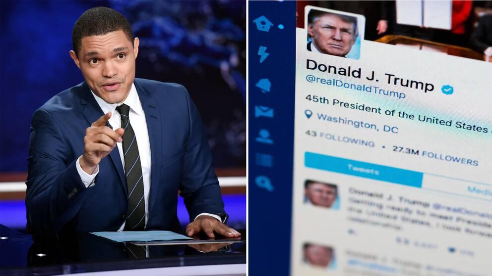 Trevor Noah är programledare för The daily show som nu ska öppna ett bibliotek av president Donald Tumps tweets.