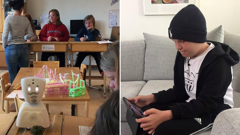 Rasmus styr roboten via en padda hemifrån, och klasskamraterna lär sig tolka robotens olika signaler.