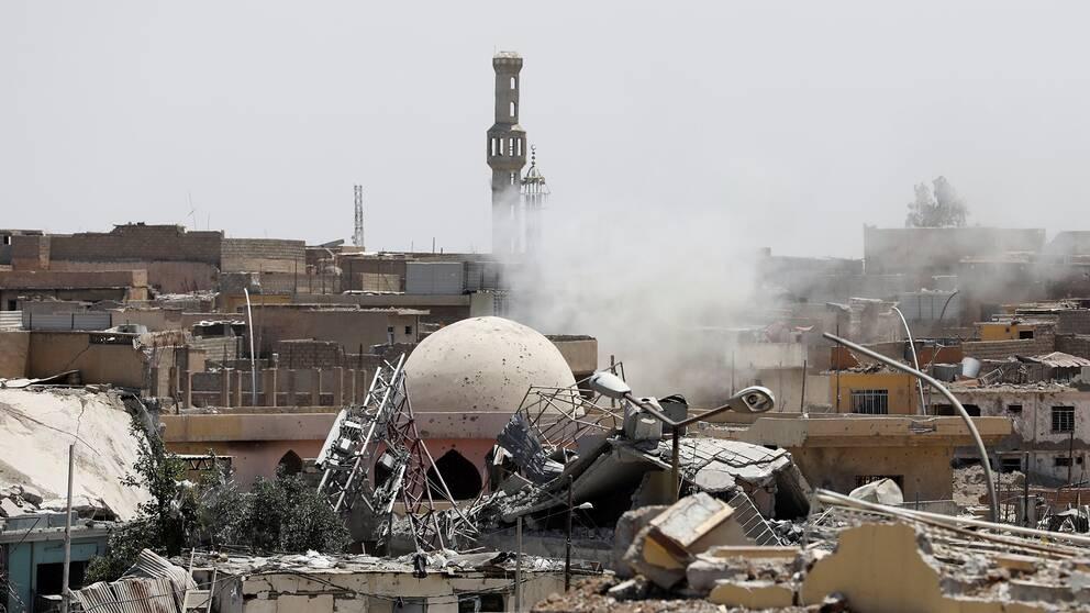 Efter bombningar i västra Mosul, Irak.