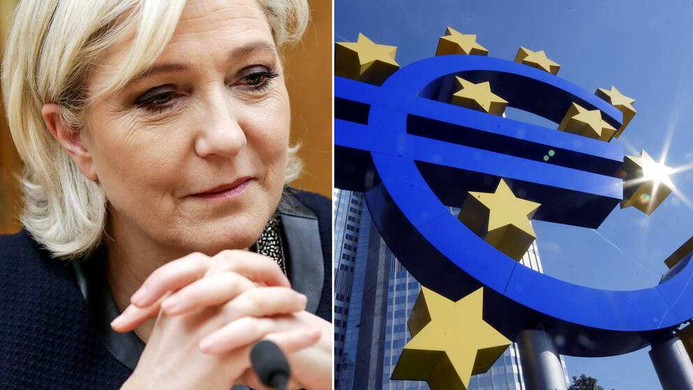 Nationella Frontens ledare Marine Le Pen och den europeiska centralbanken i Frankfurt.