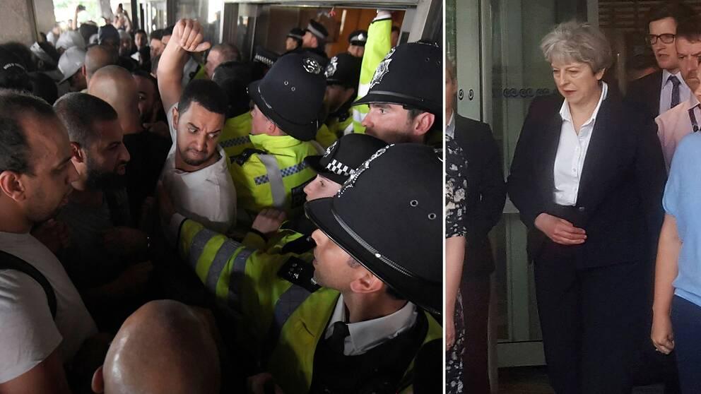 Oroligt i Kensington samtidigt som premiärminister Theresa May besökte området