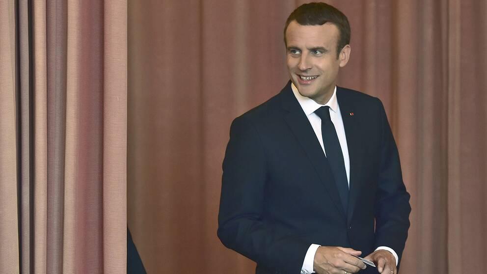Emmanuel Macron röstade i dag.