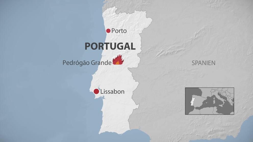 Karta över skogsbränderna i Portugal.