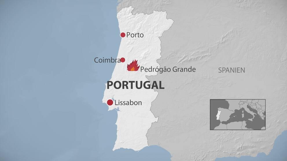 Karta över brädnerna i Portugal