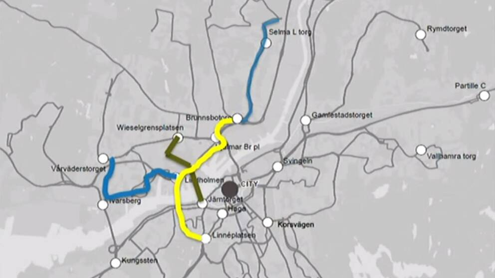 Ny kollektivtrafikkarta för Göteborg.