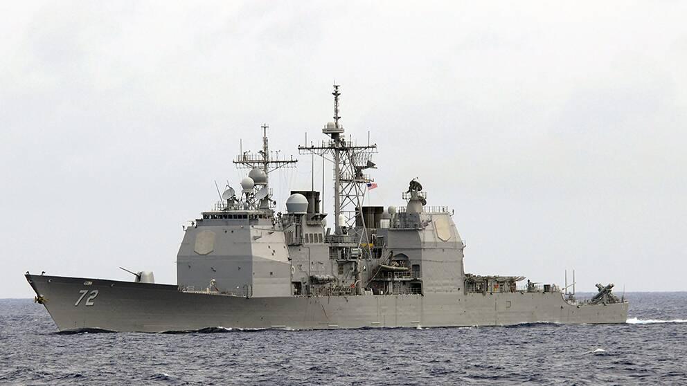 USA:s missiljägare USS Mahan i en övning i Atlanten, 5 september 2007.